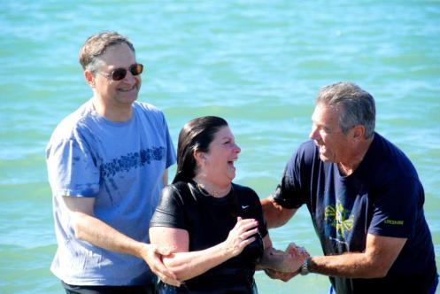 Jack (right) celebrating after a recent baptism