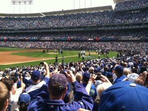 I took this pic of Sandy Koufax throwing 1st pitch to Orel Hershiser as Magic Johnson and Tommy Lasorda watch.